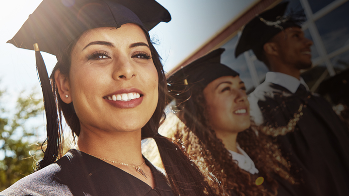 Woman wearing graduation cap